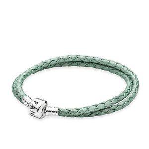 PANDORA Green Leather Double Bracelet